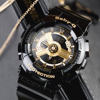 【CASIO 卡西歐】BABY-G 多層次街頭率性女孩休閒腕錶(黑金-BA-110-1ADR)