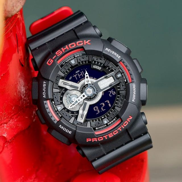 【G-SHOCK】絕對強悍時尚潮流運動錶-黑紅(GA-110HR-1ADR)