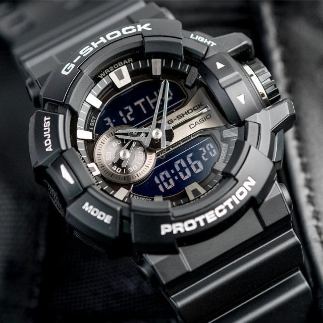 【G-SHOCK】金屬光澤多層次錶盤設計腕錶(GA-400GB-1ADR)