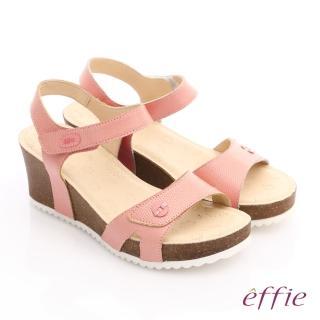 【effie】嬉皮假期 真皮點點魔鬼氈楔型涼拖鞋(粉橘)