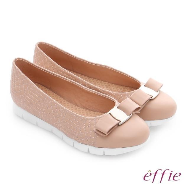 【effie】彈力舒芙 真皮圖騰紋蝴蝶結奈米休閒鞋(粉橘)