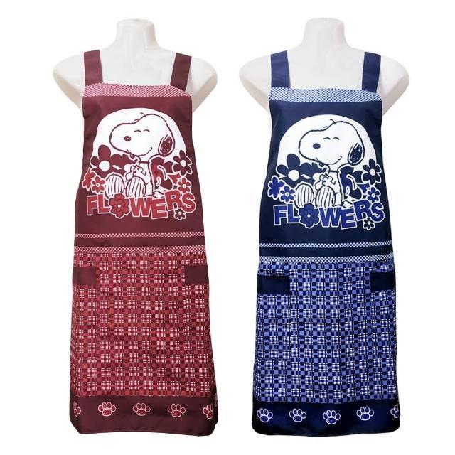 【史努比SNOOPY】兩口袋圍裙HB503花(藍紅二入組)