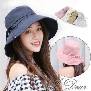 【日本UV CUT】日本UV CUT蝴蝶結細繩防曬遮陽布帽(4色)