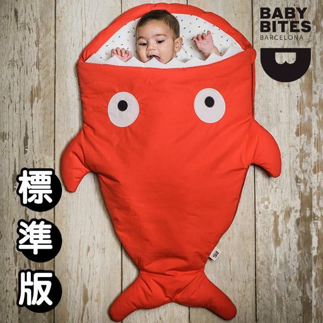 【西班牙鯊魚咬一口 BabyBites 西班牙製 100% 純棉手工嬰兒睡袋 防踢被 包巾】喜氣紅(標準版)