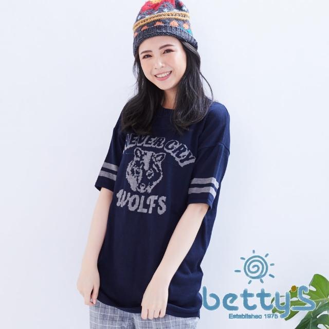 【betty's貝蒂思】袖口條紋野狼圖案五分袖長版針織衫(藍色)