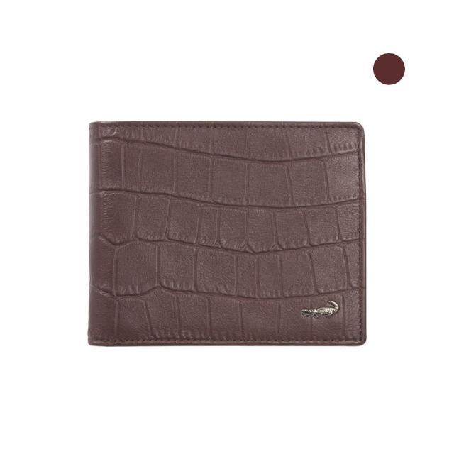 【Crocodile】經典鱷魚壓紋短夾0103-4008(義大利真皮皮革)