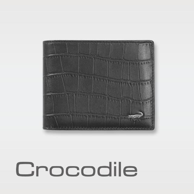 【Crocodile】經典鱷魚壓紋短夾0103-4002(義大利真皮皮革)