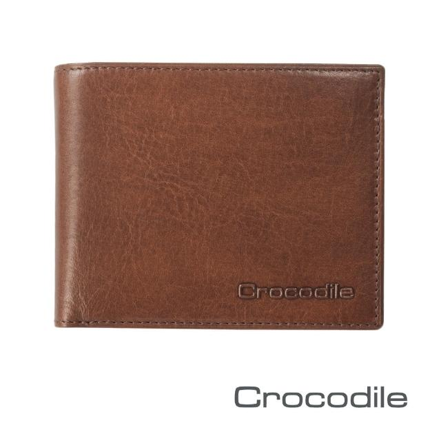 【Crocodile】Natural系列短夾-壓扣式零錢袋款 0103-58072(義大利真皮皮革)