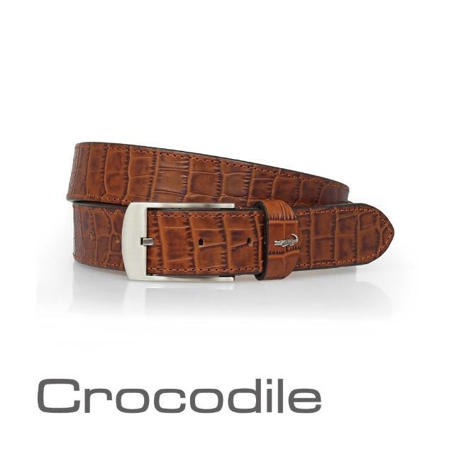 【Crocodile】Crocodile 經典鱷魚壓紋休閒皮帶 0102-20182(義大利進口牛皮)