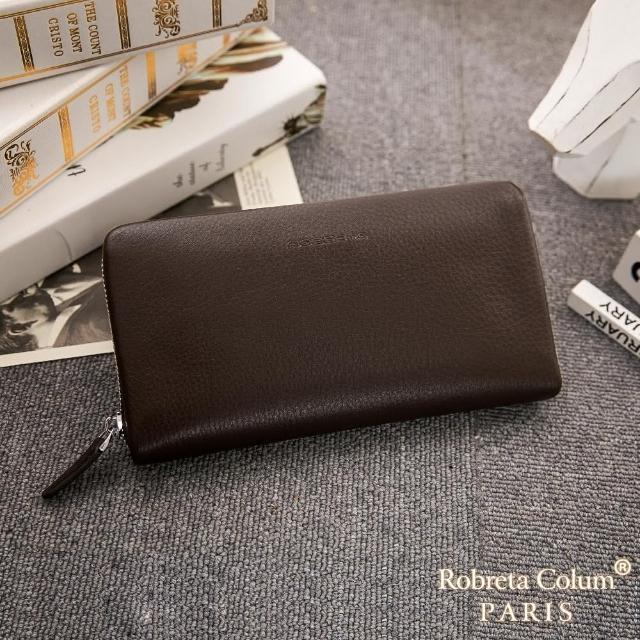 【Roberta Colum】经典品味鹿纹牛皮单拉鍊长夹正规版(共3色)