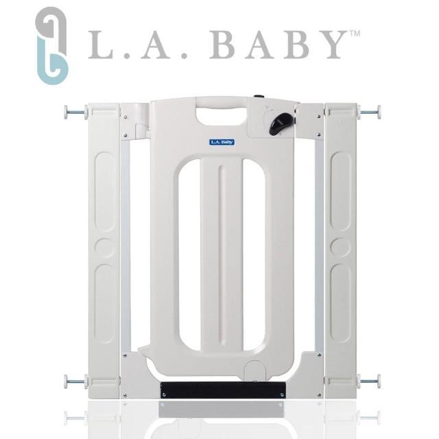 【美國 L.A. Baby】雙向自動上鎖安全門欄/圍欄/柵欄純白/米黃色(贈兩片延伸件/純白色)
