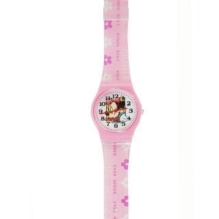 【迪士尼DISNEY】米奇米妮膠帶兒童錶卡通錶-相片米妮(開學 米奇妙妙屋 考試)