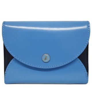 【agnes b.】小b LOGO皮革壓釦證件名片夾(藍色)