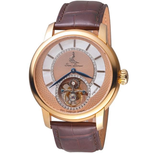 【聖迪瑪斯San Dimas】陀飛輪鑲飾腕錶(9501GRP)