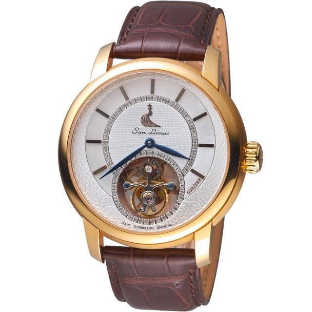 【聖迪瑪斯San Dimas】陀飛輪鑲飾腕錶(9501GRP-白)