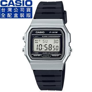 【CASIO】卡西歐鬧鈴多時區方形電子錶-黑(F-91WM-7A 公司貨全配錶盒)