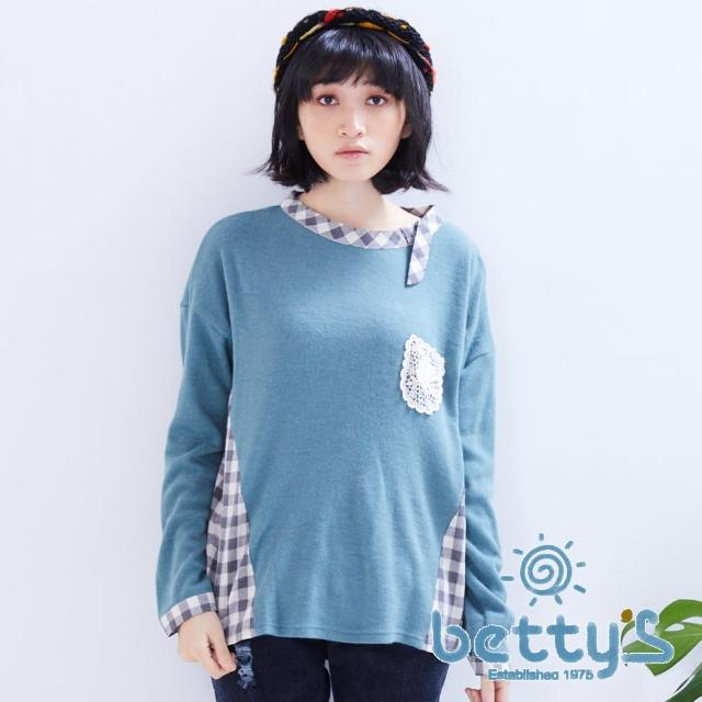 【betty's貝蒂思】格紋拼接花朵蕾絲針織衫(綠色)