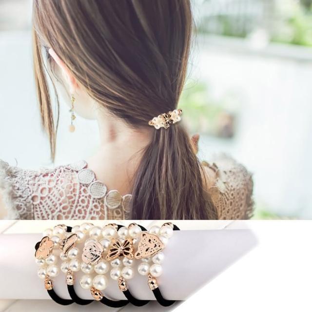 【Hera】赫拉 雙排珍珠造型髮束/髮圈/隨機款(2入組)