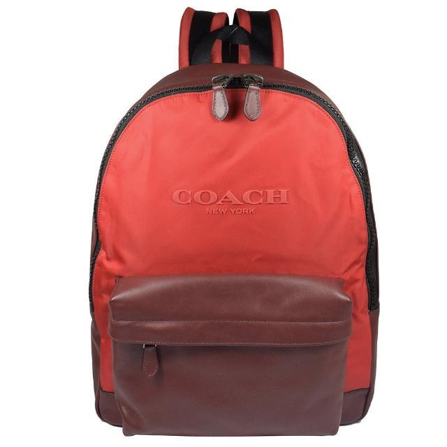 【COACH】經典LOGO撞色皮革帆布拼接後背包(暗紅/紅)