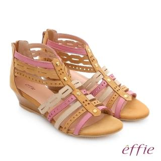 【effie】嬉皮假期 小坡跟彩色羅馬楔型涼鞋(卡其)