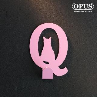 【OPUS東齊金工】歐式鐵藝壁飾掛勾/無痕掛鉤/掛衣架/廚房衛浴收納(HO-ca10-QP 當貓咪遇上字母Q)