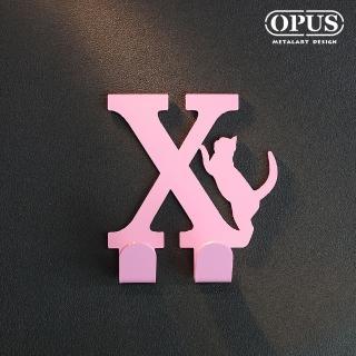 【OPUS東齊金工】歐式鐵藝壁飾掛勾/無痕掛鉤/掛衣架/廚房衛浴收納(HO-ca10-XP 當貓咪遇上字母X)