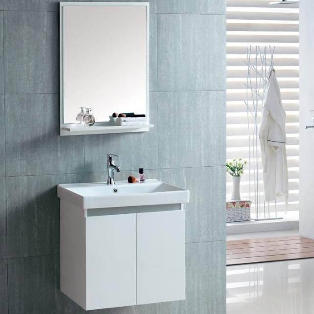 【CERAX】60公分一體成型陶瓷面盆+防水烤漆發泡板雙門浴櫃(加碼 送安裝)