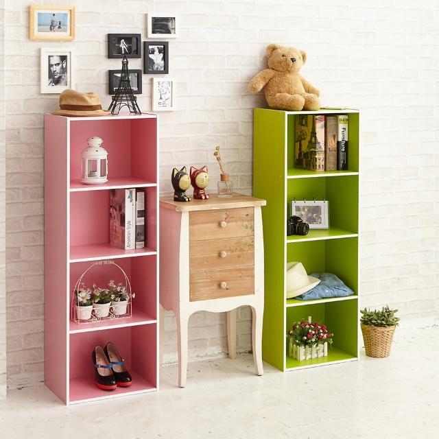 【ikloo】玩色木質四層櫃/書櫃