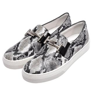 【TOD'S】經典Double T銀色金屬LOGO蟒蛇紋牛皮厚底樂福鞋(XXW0XK0R160GJI1034)