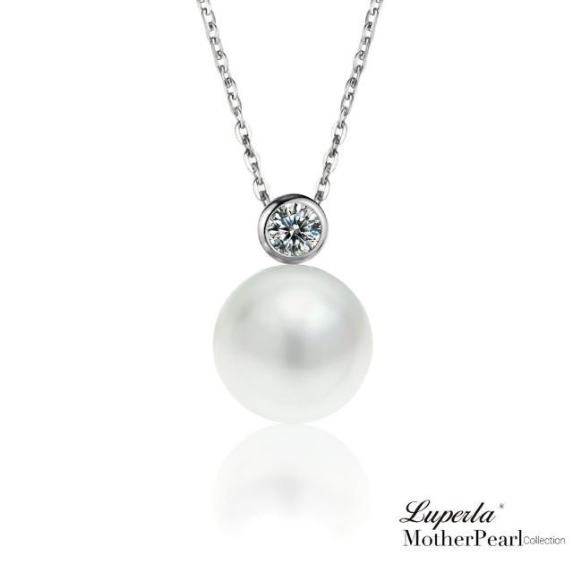 【大東山珠寶】純銀晶鑽貝珠項鍊 鑽石女伶(南洋貝寶珠)