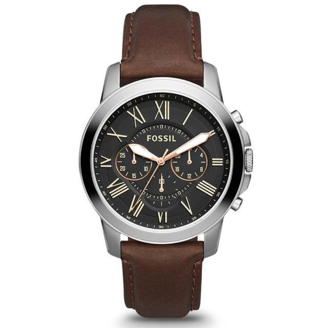 【FOSSIL】Grant 旗艦三眼計時復刻腕錶-黑/咖啡/44mm(FS4813)