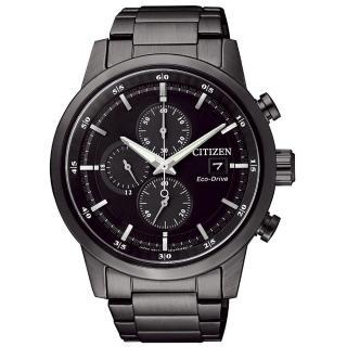 【CITIZEN星辰】Eco-Drive光動能 簡約時尚三眼計時腕錶-黑/ 43mm(CA0615-59E)