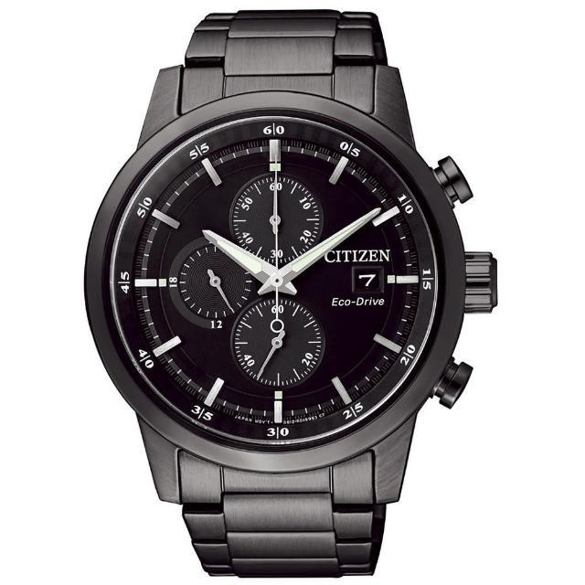 【CITIZEN星辰】Eco-Drive光動能 簡約時尚三眼計時腕錶-黑/43mm(CA0615-59E)