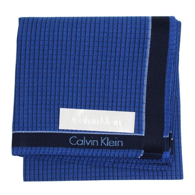【Calvin Klein】紳士款細格紋方型帕領巾(深藍)