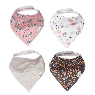 【美國 Copper Pearl】雙面領巾造型圍兜口水巾4件組 - 小美人魚 ZACPXTCM9(快速到貨)