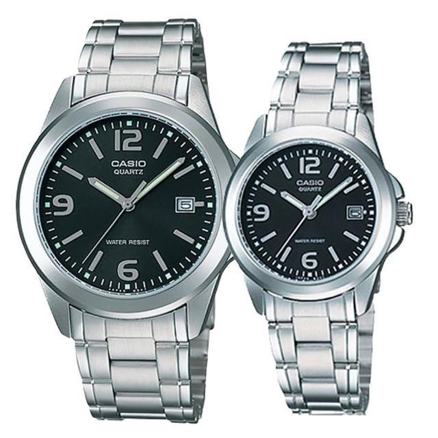 【CASIO】沉穩魅力數字男女對錶-黑(MTP-1215A-1A+ LTP-1215A-1A)