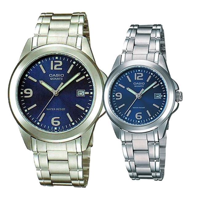 【CASIO】沉穩魅力數字男女對錶-藍(MTP-1215A-2A+ LTP-1215A-2A)