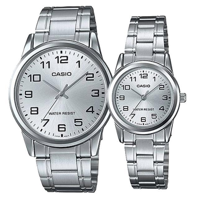 【CASIO】典雅數字造型男女對錶-白(MTP-V001D-7B+ LTP-V001D-7B)