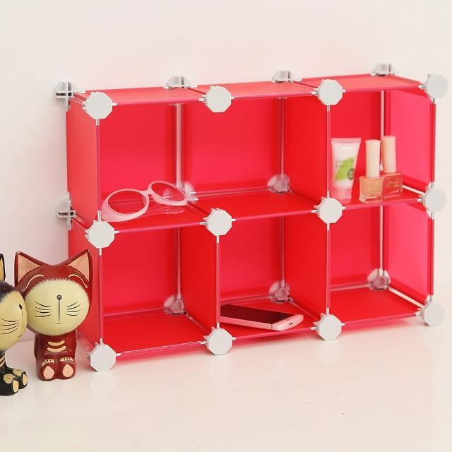 【ikloo】迷你桌上6格收納櫃