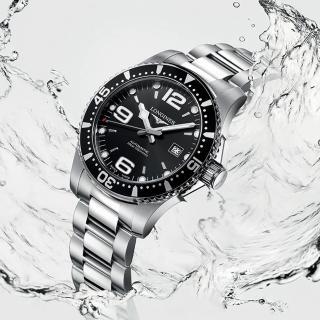 【LONGINES 浪琴】浪鬼 征服者300米64小時動力儲存機械錶-黑/41mm(L37424566)