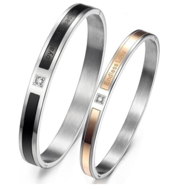 【I-Shine】無盡的愛 情侶鈦鋼手環(對環組)