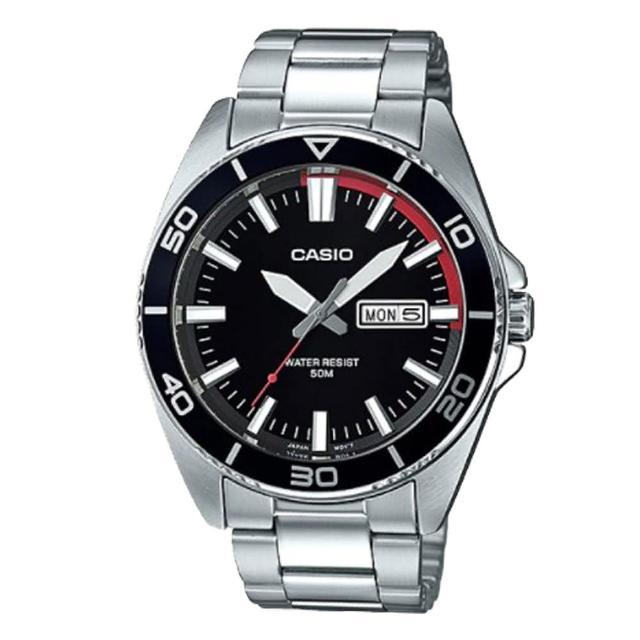 【CASIO 卡西歐】簡約大方 黑面 防水 不鏽鋼 男錶 鏡面50*44.9mm(MTD-120D)