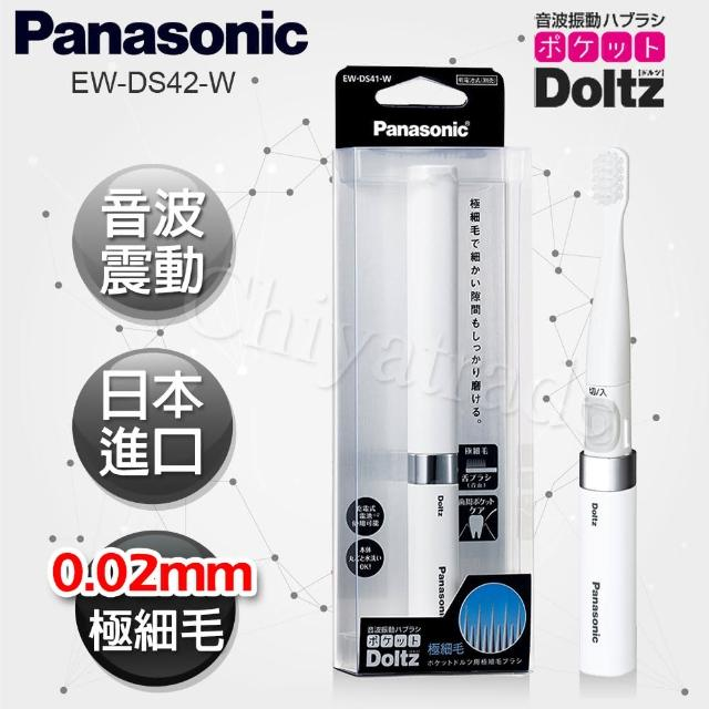【Panasonic 國際牌】音波震動電動牙刷 極細刷毛 上班 隨身 旅行 多用途(EW-DS41-W 經典白)