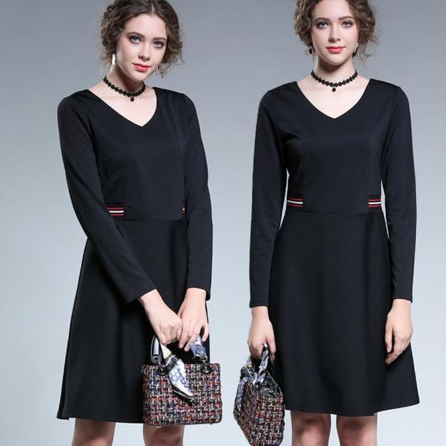 【麗質達人】5023條紋拼接假二件洋裝(L-5XL)