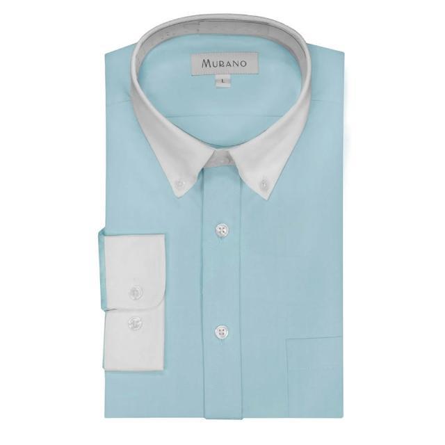 【MURANO】馬卡龍色系白領撞色長袖襯衫(湖水藍)