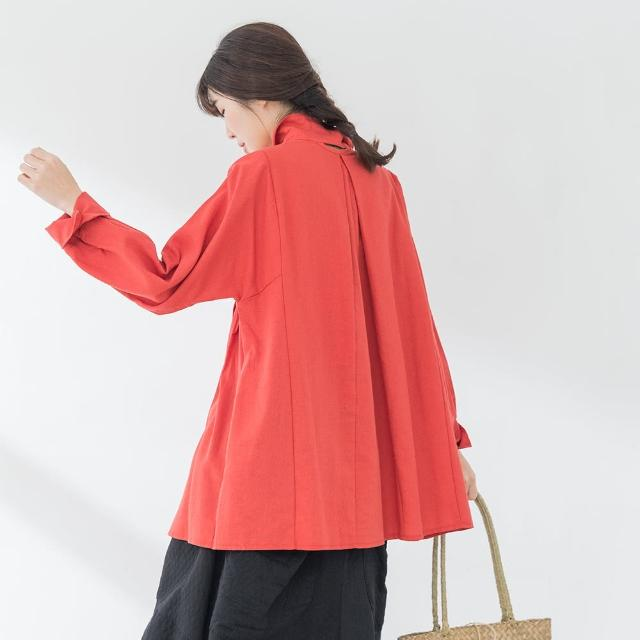 【*KatieQ 慢。生活】後領挖空打摺襯衫洋裝-F(桔紅/湖水藍)