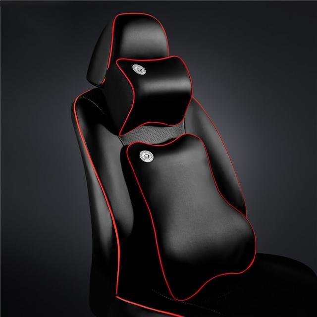 【威力鯨車神】高科技太空記憶棉手工皮製汽車頭枕腰靠組(黑色紅邊)
