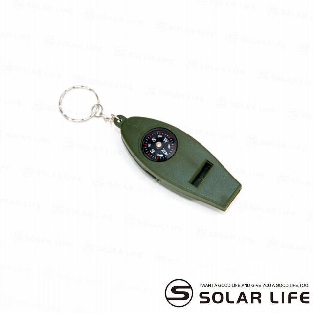 【索樂生活】溫度計指南針放大鏡哨子四合一鑰匙圈(羅盤凸透鏡攜帶式放大鏡安全救生哨)