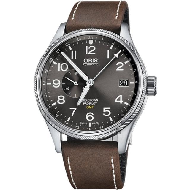 【ORIS 豪利時】Big Crown ProPilot GMT小秒針飛行錶-灰/45mm(0174877104063-0752205FC)