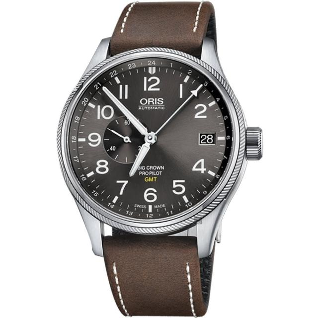 【ORIS 豪利時】Big Crown ProPilot GMT小秒針飛行錶-灰/45mm(0174877104063-0752205FC)
